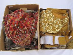 Assorted tapestry furnishing materials, an Eastern-style mirrored headdress, a part made 1950's
