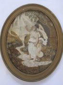 Georgian silkwork, watercolour and applique allegorical pictureof winged classical female figure