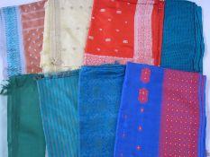 Nine silk saris, various colours