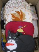 Quantity of table linen, tea cosies, a rag rug, etc (1 box) Condition ReportPlease see additional