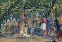 J Brendon(?) (early 20th century school) Watercolour drawing Children on a carousel with spectators,