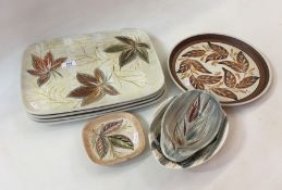 Four Denby rectangular dishes,designed by Glyn Colledge (1922-2000), 34.5cm a small dish, two bowls