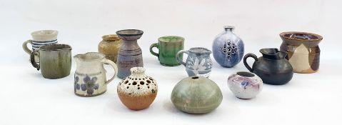 Various items of assorted studio potteryto include mugs, miniature jugs, vase marked 'Haldaas', etc