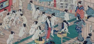 "After Yoshiiku Utagawa (1833-1904) Japanese print ""Collaring and Scuffling in Wooden Bath House"","