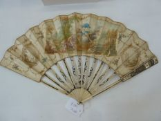 A 19th century paper and bone fan, the central cartouche depicting a male figure seated with dogs