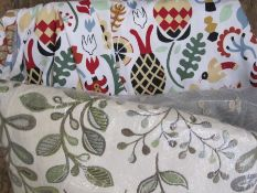 Length of modern crewelwork furnishing fabric, a curtainand other remnants(1 bag)