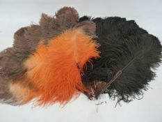 A black ostrich feather and tortoiseshell fan and an orange and brown ostrich feather fan (2)