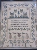 Samplerby Mary Williams, aged 13 years, 1846, 39cm x 31cm, framed and another simple cross-stitch
