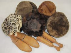 Pair of small boot treessmade by Bartley & Sons, two mink hats, three other fur hats and a fur