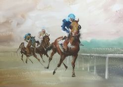 John Skeaping (20th century) Watercolour drawing Racing scene, signed lower left and dated '63, 41cm