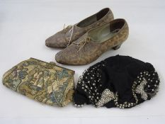 Pair of vintage walking shoes, labelled 'Genoa', size 6, a 1920's/30's chiffon and diamante paste