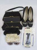Pair of vintage black fabric evening shoeswith silver bugle bead decorations, various evening bags,
