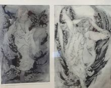 Jeni Sharpstone (20th century) Engravings Limited edition print 1/6 nude studies, signed in pencil