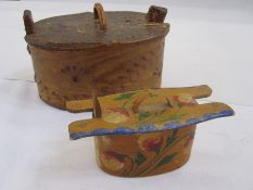 Scandinavian bentwood box (one support loose but present) and another smaller painted Scandinavian