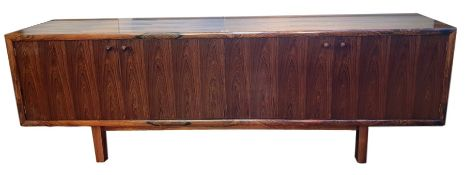 Circa 1970 Martin Hall for Gordon Russell 'Marlow' Brazilian rosewood sideboard, the four cupboard