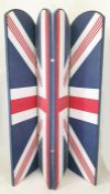 Four-fold draught screendecorated in Union Jack style fabric, 167.5cm high, unique, created by