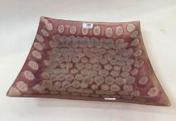 A 20th Century purple and clear glass square shaped dish, 36cm wide