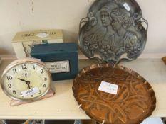 A Jock pink alarm clock, a pair of Royal Worcester egg Coddlers, boxed, a pair of Dartington