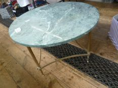 20th century coffee table, circular green marble top on stretchered brass base ( 70cms diam.)