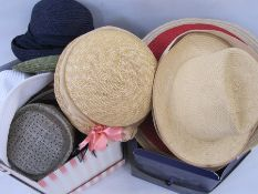 Collection of straw hats, various makes (2 boxes)
