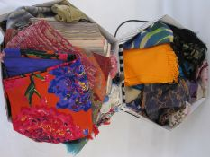 Large quantity of wool and silk scarves, pashminas, etc (2 hat boxes) Condition ReportNo