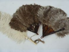 Two ostrich feather and tortoiseshell fans and a white ostrich feather fan with ivory handle (3)