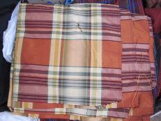 Quantity of dress and furnishing materialsincluding tartan silk, Sandersons 'Bird and Basket' circa