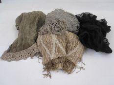 Large grey cobweb shawl, a vintage grey chiffon shawl, a modern woollen shawl and a length of