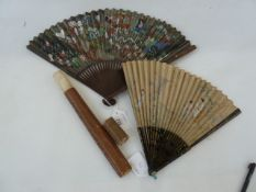 A Chinese painted paper fan, various painted figures to include warriors, Buddhas and serpents,