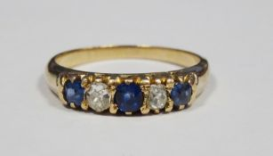 18ct gold, sapphire and diamond five-stone ring set two old cut diamonds and three sapphires, 2.9g