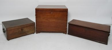 Old hardwood military style two (swan neck) handled box with corner dovetail joints, an empty fitted