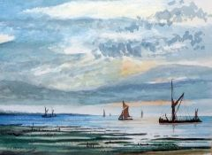 J G Kemp-Luck Watercolour Boats off shore, signed lower left Black and white etching Bar Gate,