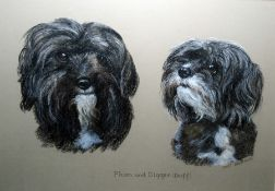 """Mary Browning Pastel """"Plum and Digger"""", studies of dogs and various further prints, etc"""