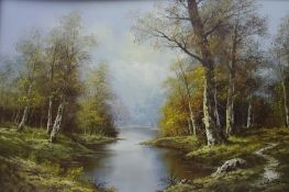 Continental school Oil on board Wooded river scene, indistinctly signed lower right and two