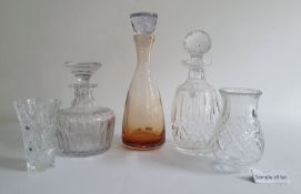 Amber glass decanterof conical form with stopper, approx 31cm high, together withvarious cut