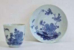 18th/19th century Chinese porcelain blue and white beaker and saucer, painted with chrysanthemum and