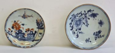 18th/19th century Chinese porcelain blue and white saucer, painted with chrysanthemum and insects