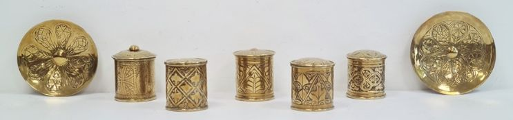 Five brass lidded trinket boxesand two circular dishes(7)