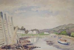 Irene Jago Watercolour Estuary scene signed lower right together with two further prints