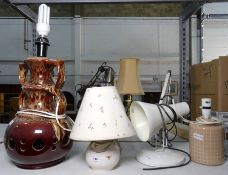 Cream anglepoise lamp, two ceramic table lamps and a large ceramic brown mottled table lamp (4)