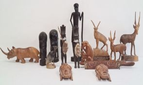 Quantity of carved African animals and African carved heads(1 box)