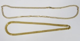 9ct gold flattened curb-link chain necklace, 6g approx and a 9ct gold fancy belcher-link chain