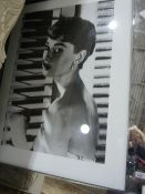 Audrey Hepburn, black and white photographic portraitin mirrored frame , 75 x 95 cms, with
