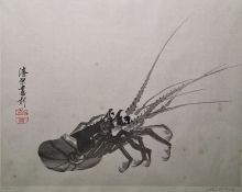 Limited edition Japanese woodblock colour print, 88/100 of lobster, signed in pencil lower right and