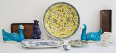 Collection of Chinese ceramics, to include a modern yellow ground circular dish, 30cm, a pair of