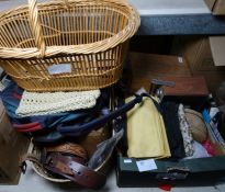 Various fabrics, kid gloves, Roberts radio, sewing box with cotton reels, vintage belts, an