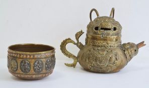 Asian brass teapot, cover and bowl, probably Tibetan, late 19th/early 20th century, the teapot