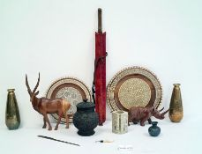Quantity of assorted shells, carved wooden animals, etc