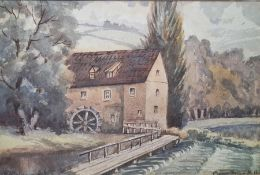 Mid-20th century Watercolour Mill scene, indistinctly signed and dated 1954 lower left, 16 x 23.5cm