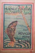 """After Marthe Picard Blockprint poster """"Mangez Moins de Viande Pour Menager Notre Cheptel"""", circa"""